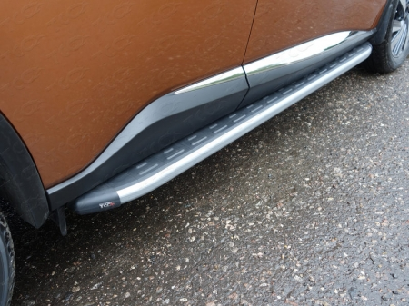 Nissan Murano 2016-Пороги алюминиевые с пластиковой накладкой (карбон серебро) 1820 мм